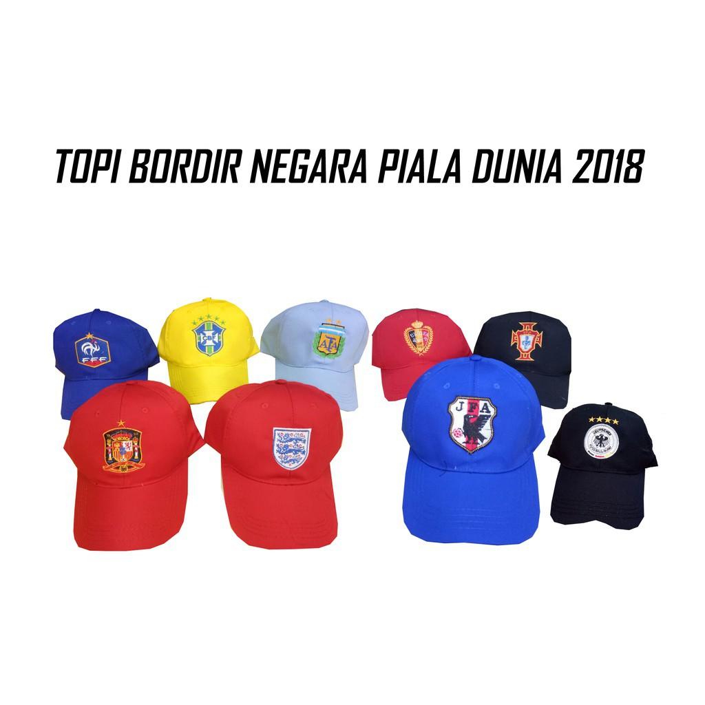 TOPI NEGARA BORDIR Piala Dunia 2018 Topi Baseball Premium