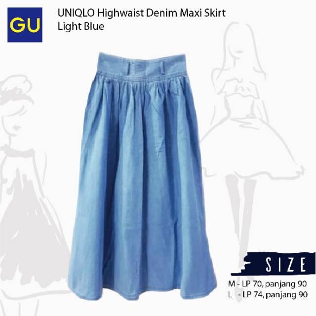 57c27e010d08 GU Uniqlo midi denim skirt