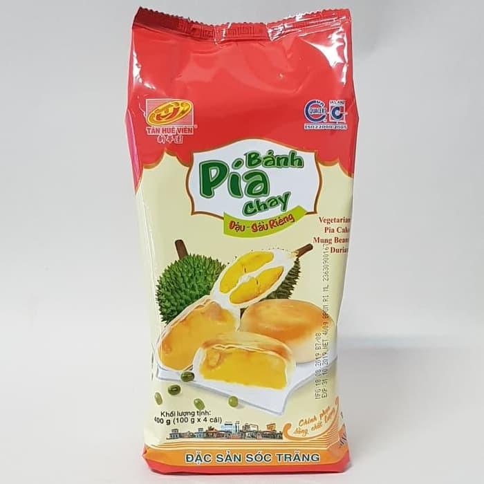 BANH PIA CHAY PIA VIETNAM VEGETARIAN PIA CAKE MUNG BEANS DURIAN 400GR