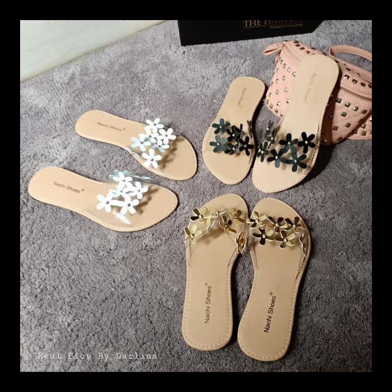 Sandal Flat Shoes Bunga Asoka Hitam 37 Shopee Indonesia