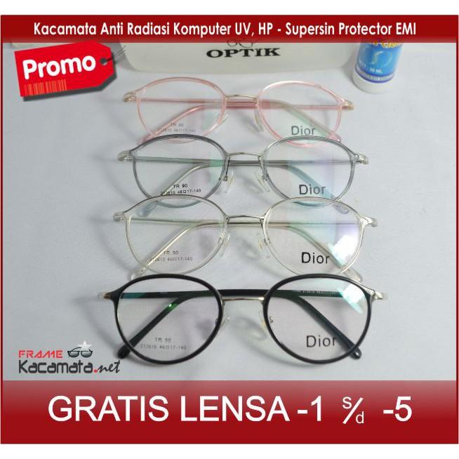 Kacamata Frame + Lensa Minus Antiradiasi Pria Wanita Baca Korea Vintage  Bulat  3d22adba62
