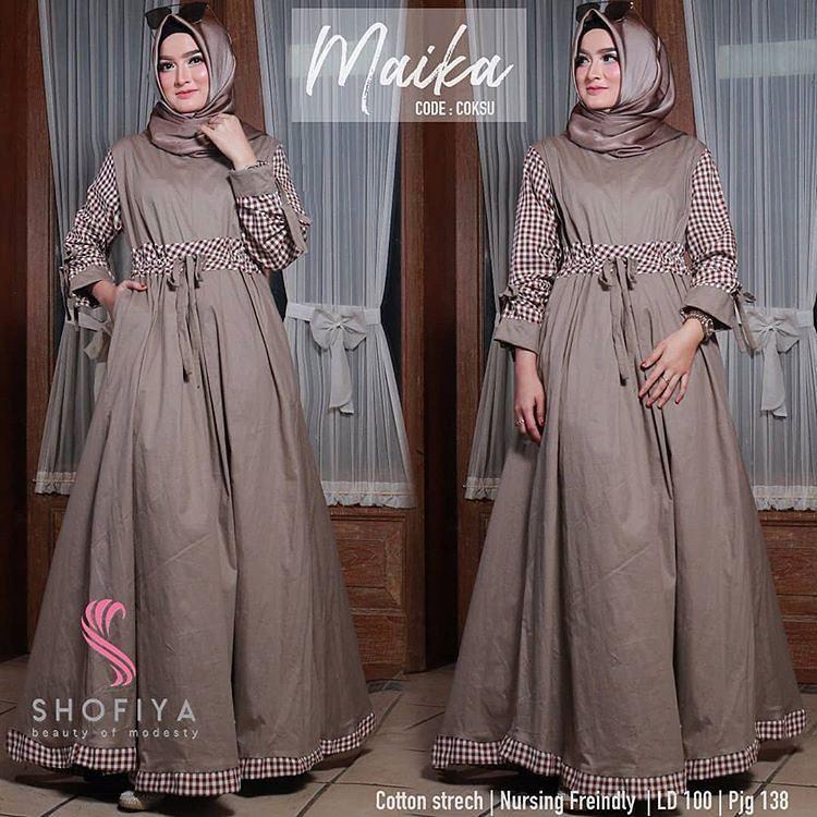 Baju muslim wanita terbaru gamis syari kekinian bahan balotelli mix katun  tidak busui fit L axelle  8ca84b4a0f