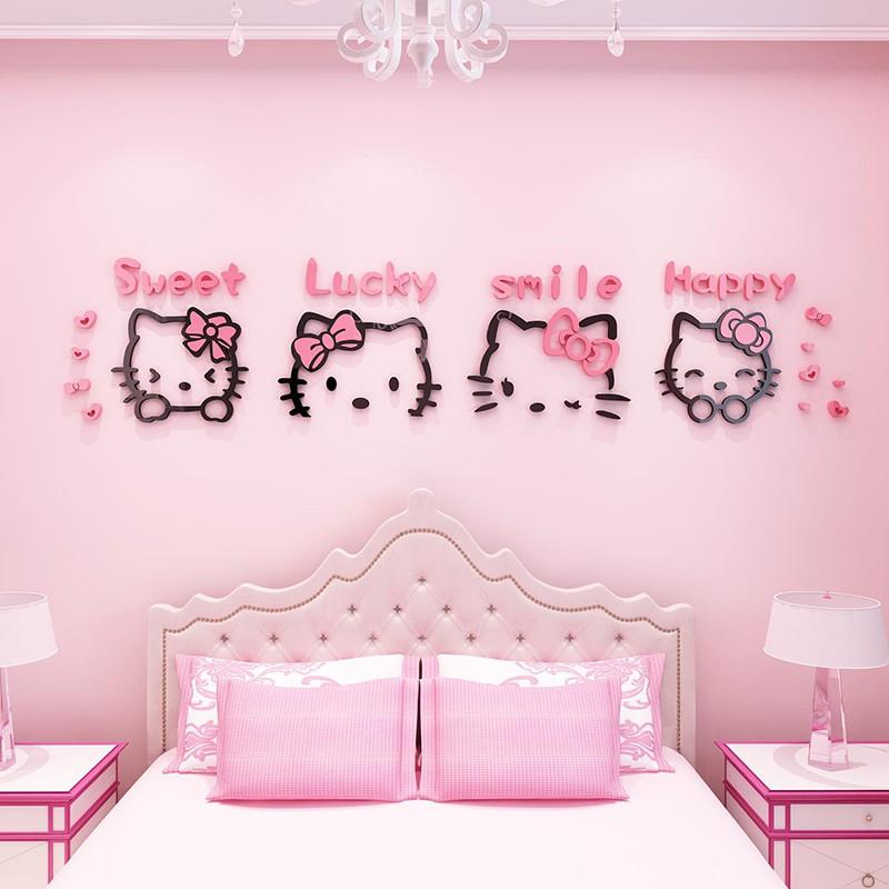 Stiker Dinding Desain Hello Kitty 3d Untuk Dekorasi Kamar Anak Perempuan Shopee Indonesia