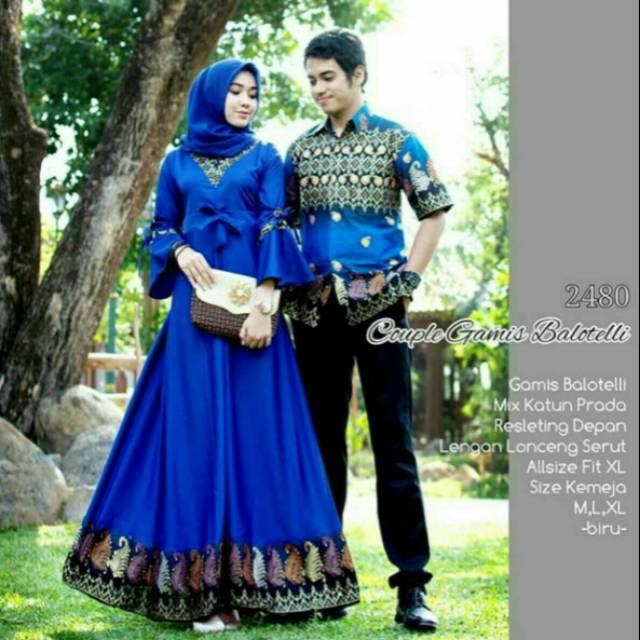 Baju Batik Couple Sarimbit Gamis Anak Muda Untuk Pesta Ootd Model Modis Kombinasi Katun Dan Baloteli