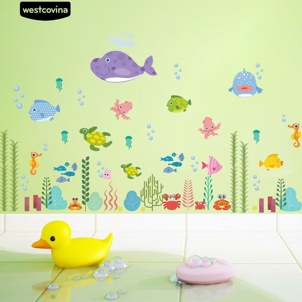 Kamar Anak Anak Mural Laut Dunia Ikan Rumput Air Tahan Air Stiker Dinding Decal
