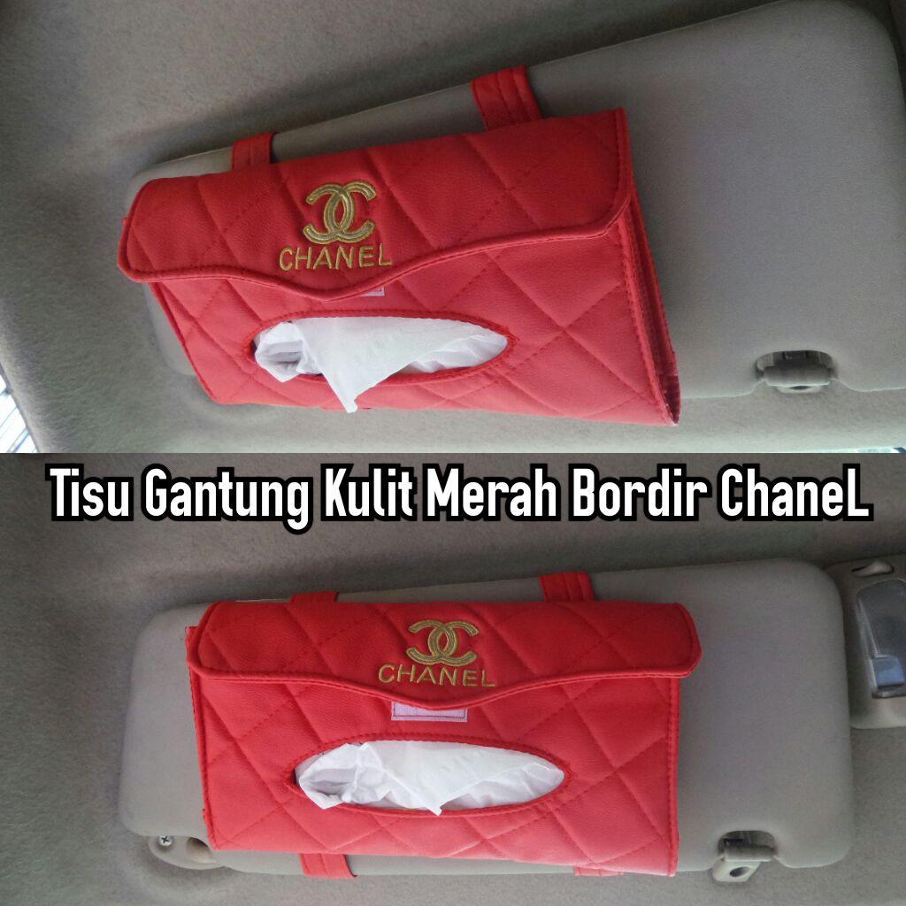 Tempat Tissue Box Tisu Kulit Gantung Merah Bordir Chanel Shopee Kotak Indonesia