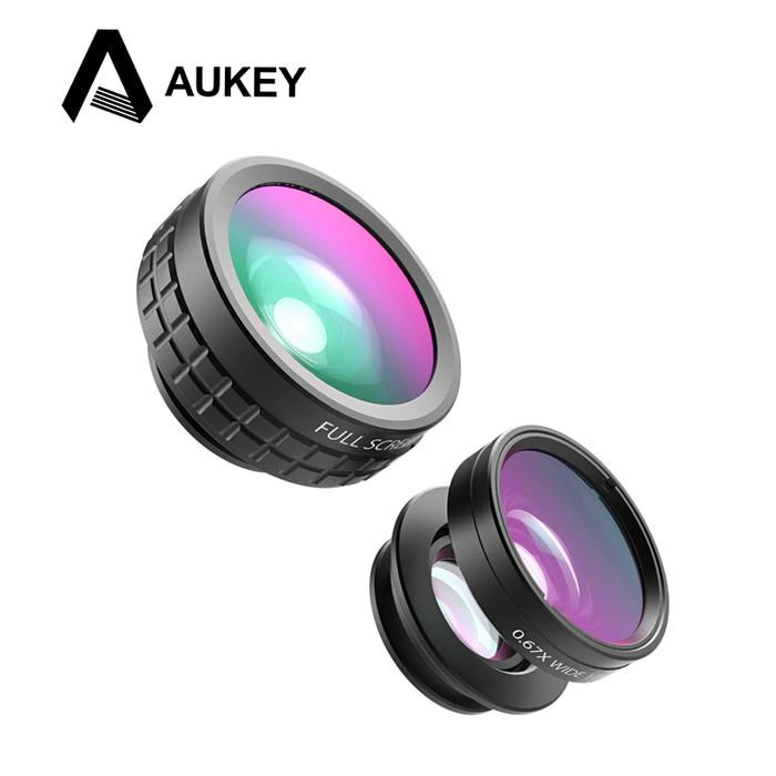 AUKEY 3 in 1 Lensa Handphone 180 Degree Fisheye Lens Wide Angle Macro Lens PL A1 | Shopee Indonesia