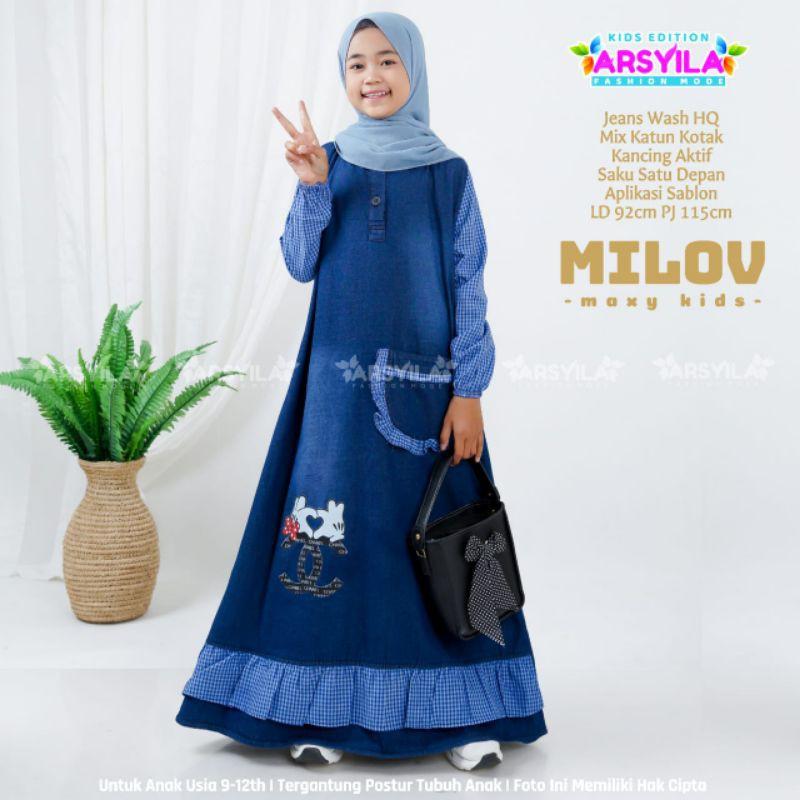 Milov Maxy Dress kids Gamis Anak Usia 8 9 10 11 tahun Jeans Wash Halus by Arsyila