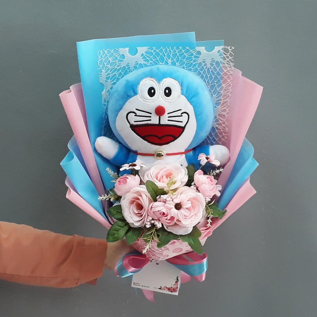 Buket Bunga Artificial Boneka Doraemon Bisa Custom Shopee