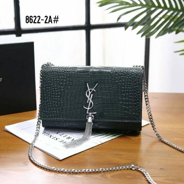 Tas YSL Sunset Medium Crocodile Shiny Leather Bag 2906  09df8da87e