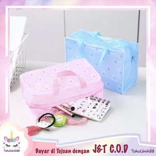 TU88 Dompet Tas Kosmetik PVC Anti Air Tas Toiletries Bag Travel Make Up Transparan - TVC