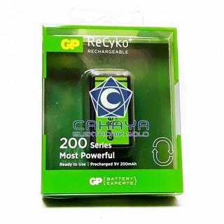 Batere 9V Kotak GP 200mah Cas Isi Ulang Recyko Rechargeable Baterai