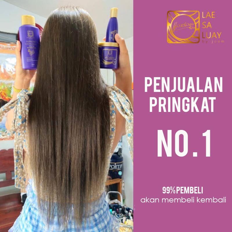 BPOM Lae Sa Luay Supreme Charcoal Smooth Shampoo / Shampo Kondisioner 200ml-1