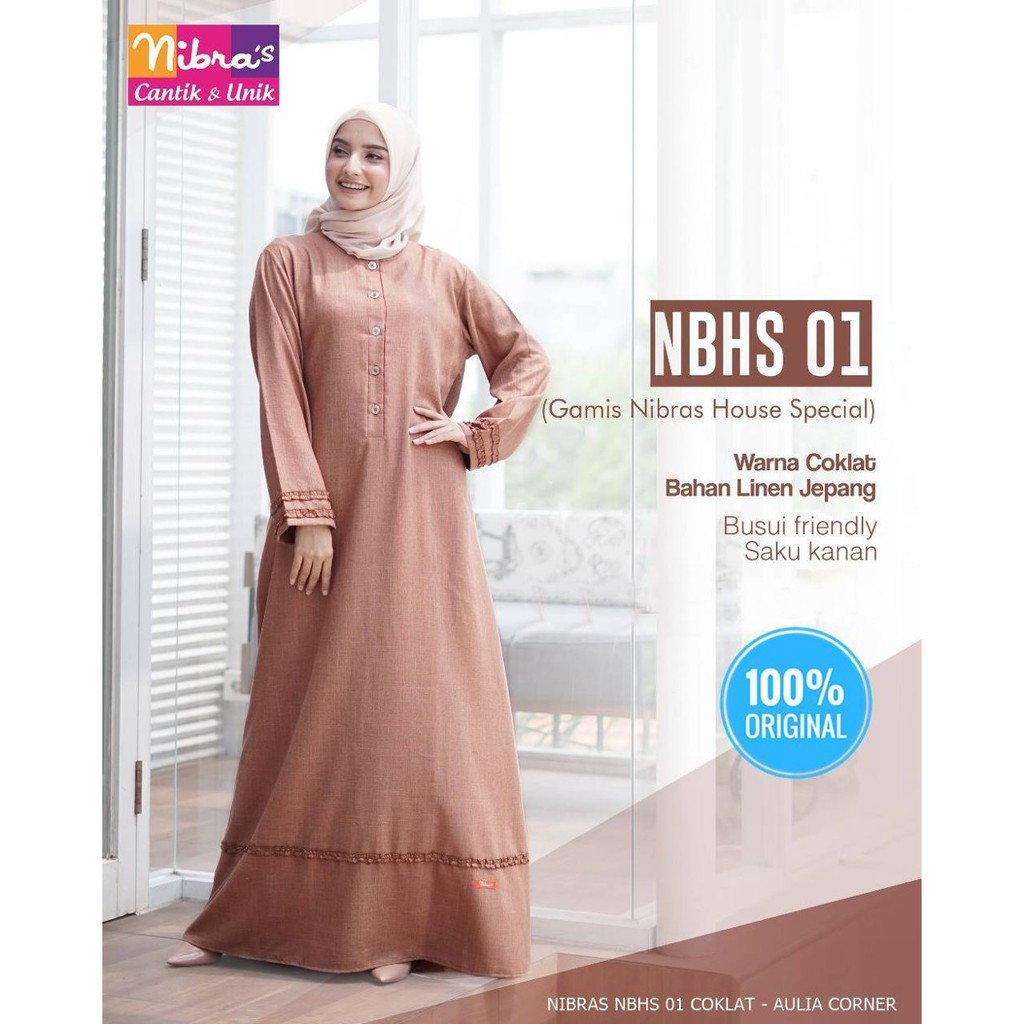 Busana Muslim Gamis Nibras Nbhs 01 Coklat Original Baju Gamis Elzatta Terbaru 2018 Shopee Indonesia