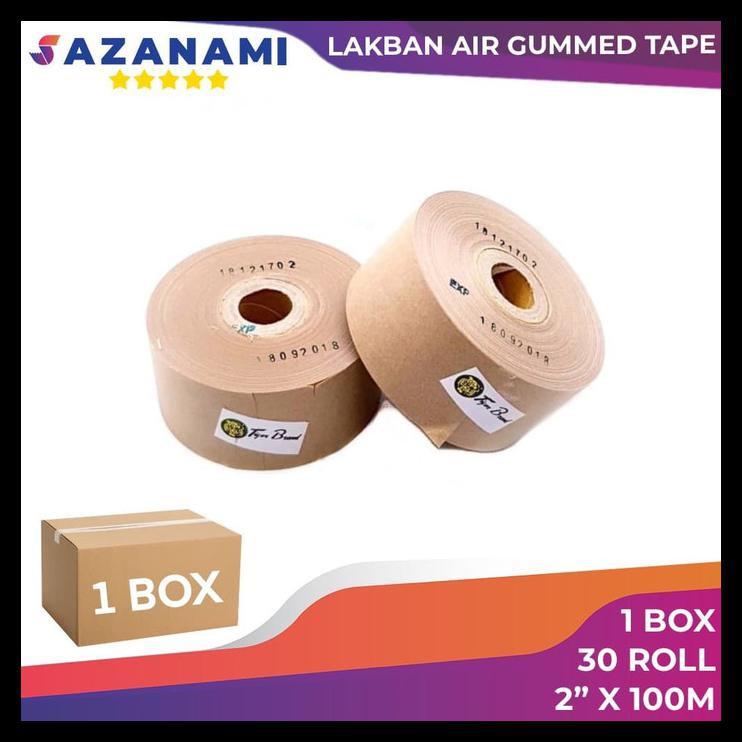 """1 Box Gummed Tape 2"""" X 100M Gummed Paper Craft Tape Tiger Lakban Air"""