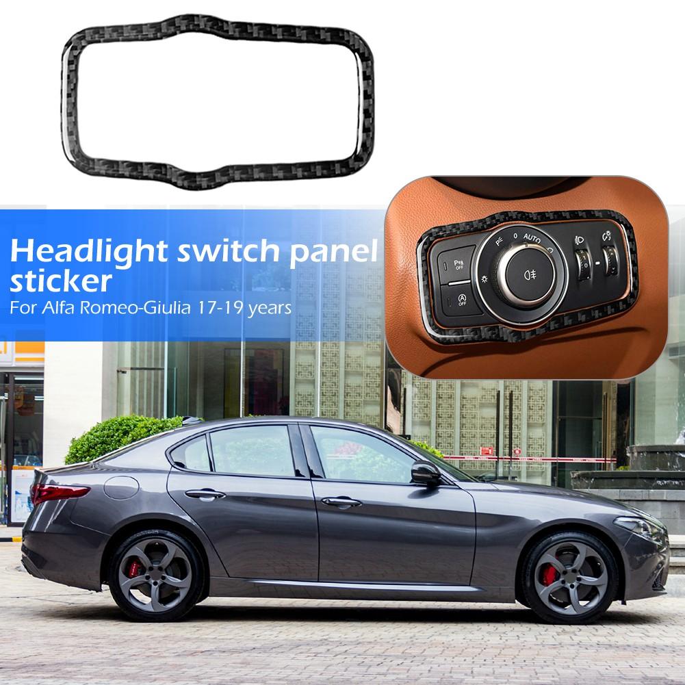 Interior Head Light Lamp Switch Button Cover,Carbon Fiber Headlight Switch Button Cover Trim Fits for Alfa Romeo Giulia 17-19