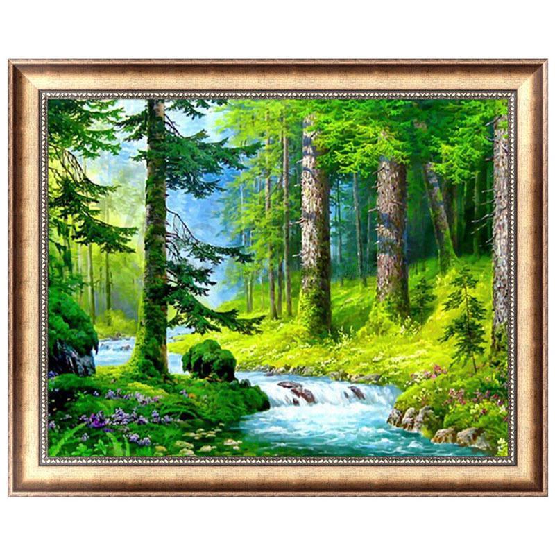 Lukisan Cat Minyak 5d Gambar Pemandangan Hutan Hijau Shopee