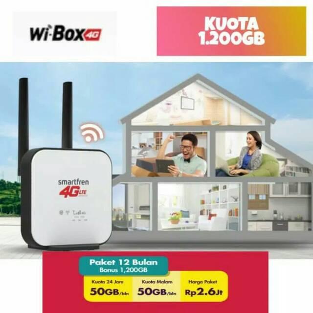 Wi-Box Home Router 4G LTE Smartfren Paket 1 Tahun