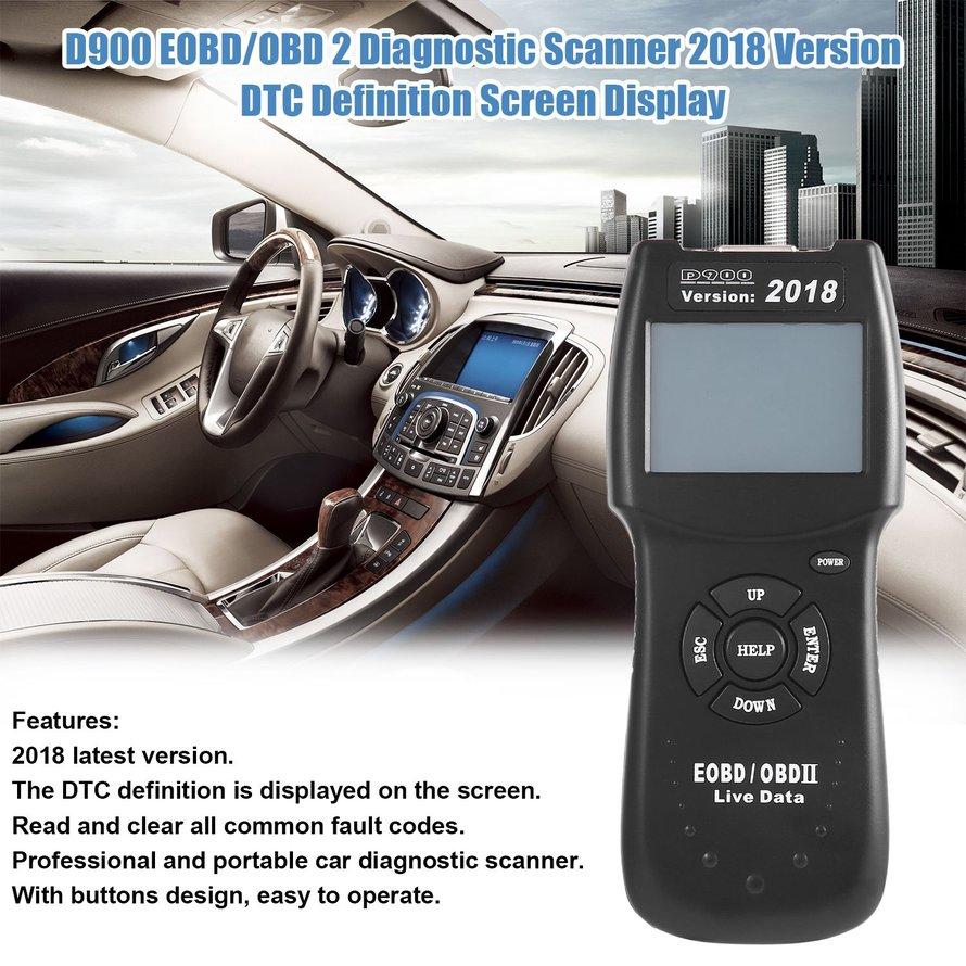 D900 Scanner dtc EOBD / OBD 2 Versi 2018 dengan Layar Display