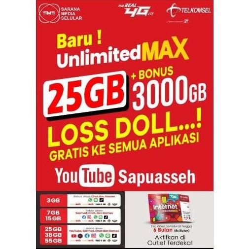 Perdana internet Telkomsel 25gb + bonus 3000GB LOS DOL, UNLIMITED Max