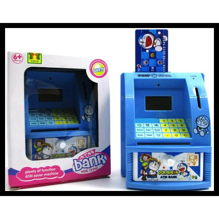 SPESIAL Mainan Edukatif / Edukasi Anak - Celengan ATM Mini Happy Bank Doraemon | Shopee Indonesia
