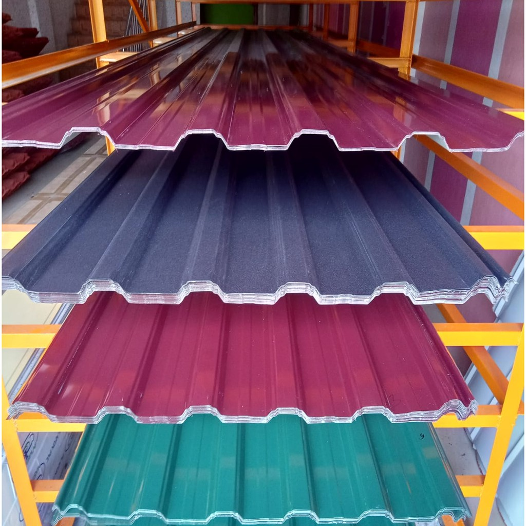 Atap Spandek Warna (0,25 - 0,30) Panjang 4 - 6 Meter, Dengan Bahan BlueScope Berlapis Back Coatin