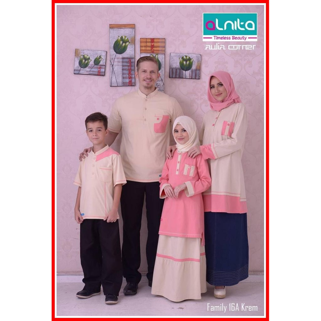 Faaiza Couple Family Keluarga Baju Lebaran Shopee Indonesia Gamis Monalisa Merah Ut