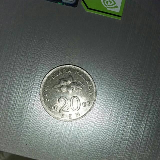 Uang malaysia  20 sen. Tahun 2008