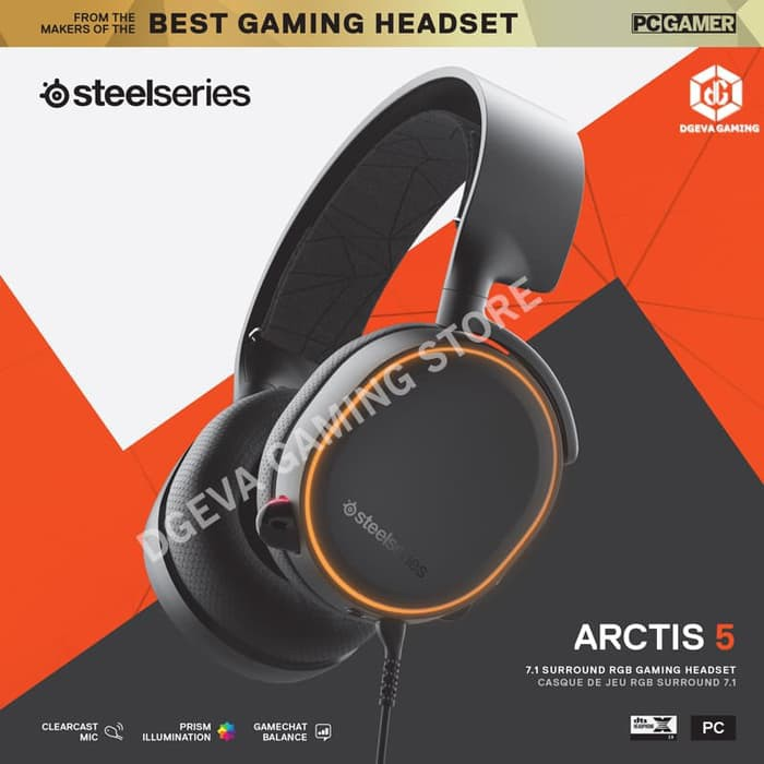 HS1842 Steelseries Arctis 5 Black RGB 7 1 DTS:X Surround - Gaming Headset