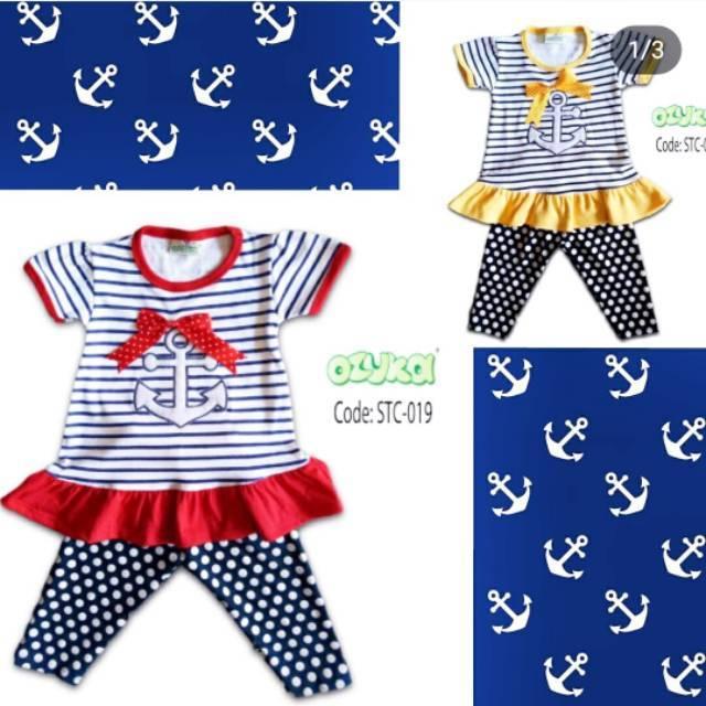 Setelan Baju Anak Balita Perempuan Ozuka Motif Pelaut Sailor c0d31079d6