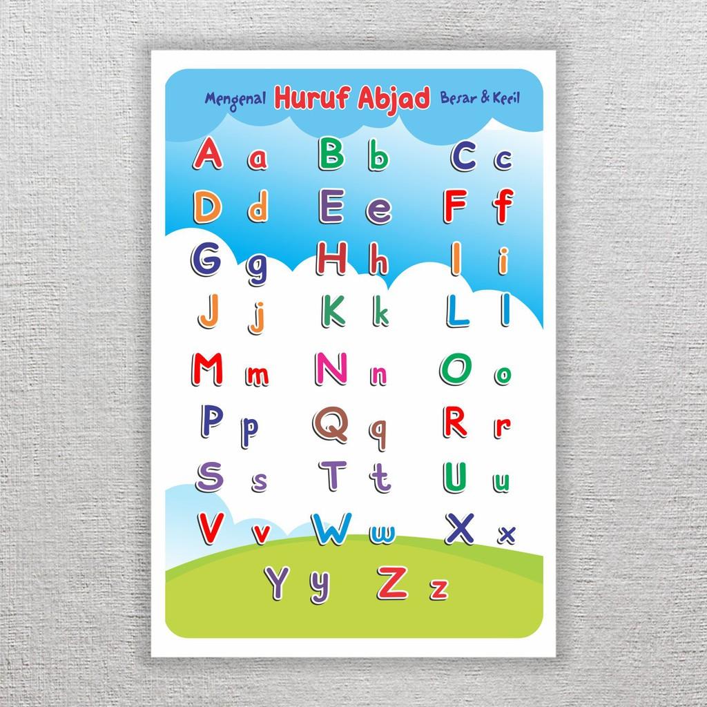 Poster Belajar Anak Tk Paud Mengenal Huruf Abjad Alfabet Besar Kecil Media Mainan Edukasi Shopee Indonesia
