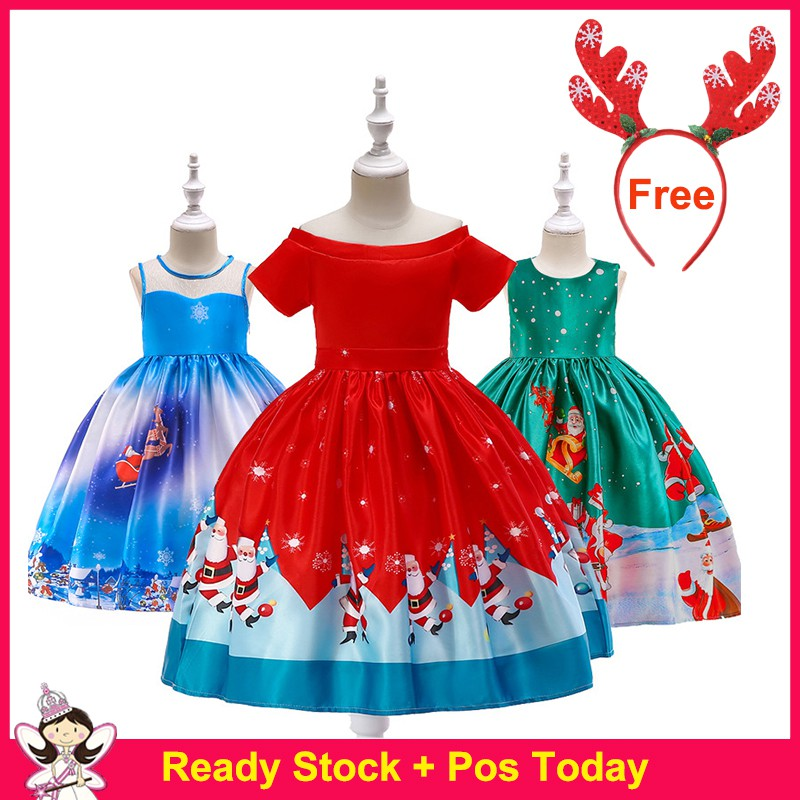 Girls Red Christmas Dress Santa Clus Pattern New Year Costume Kids Xmas Evening Party Ball Gown Shopee Indonesia