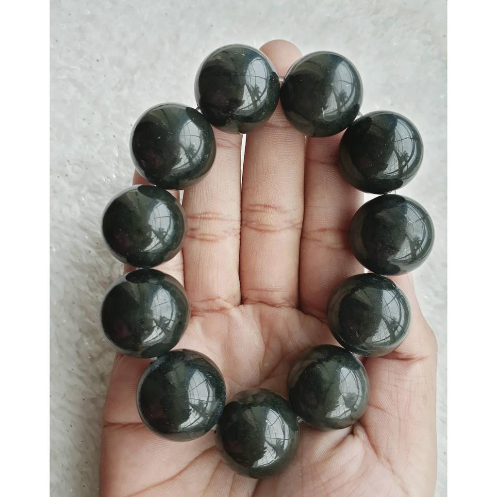 "A-KHA Paket Kalung dan Gelang Black Jade 8mm ""100% Batu Alam"""