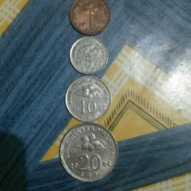 Uang koin malaysia 1,5,10 dan 20 sen