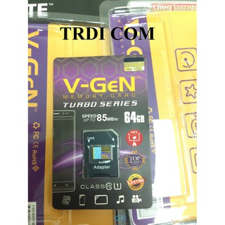Micro Sd Vgen Turbo 64 Gb Class 10 Adaptor mmc 64gb V-Gen microsd Resmi Original V-GEN