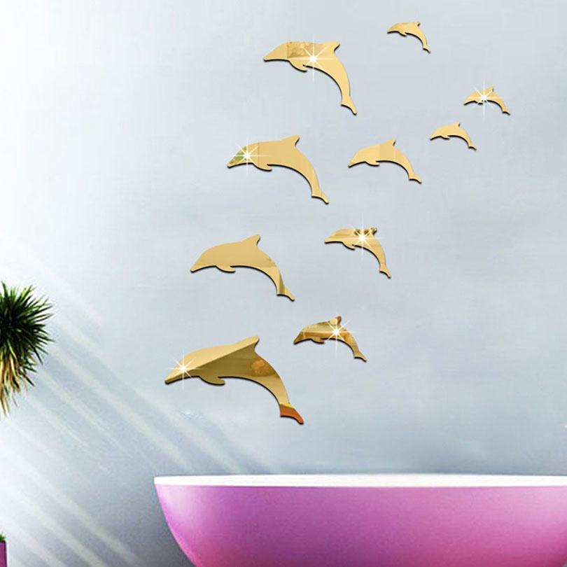 Stiker Dinding Dengan Bahan Mudah Dilepas Dan Gambar Lumba Lumba 3d Untuk Dekorasi Rumah Shopee Indonesia
