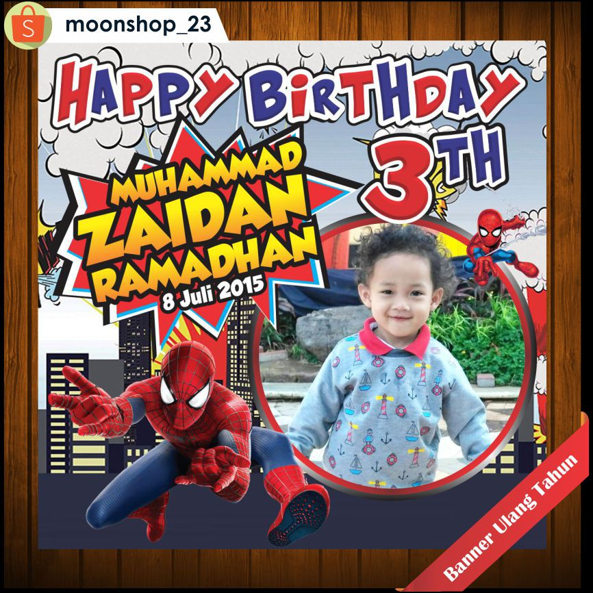 New Backdrop Ultah Banner Ulang Tahun Tema Spiderman Gratis Design Shopee Indonesia