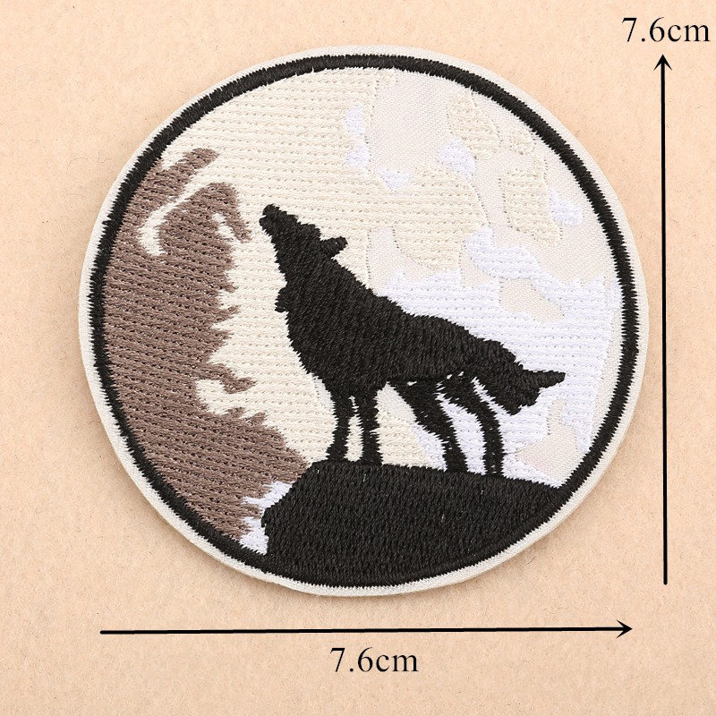 Woven IRON-ON PATCH Sew Embroidery Applique Fashion Badge GREY WOLF