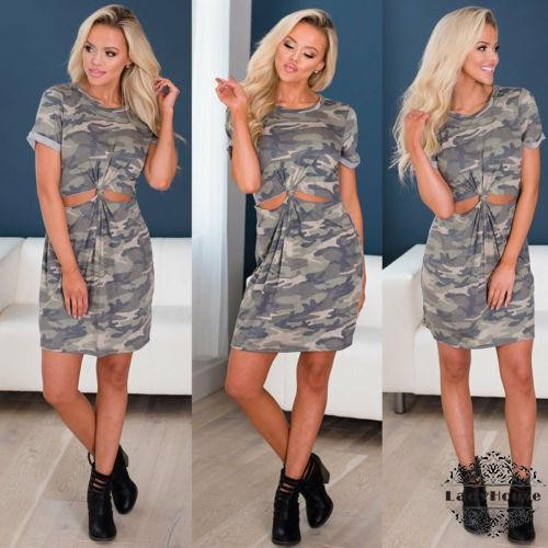 1EY-Sexy Womens Camouflage Loose Tops Casual T-shirt Ladies Party Mini Dress