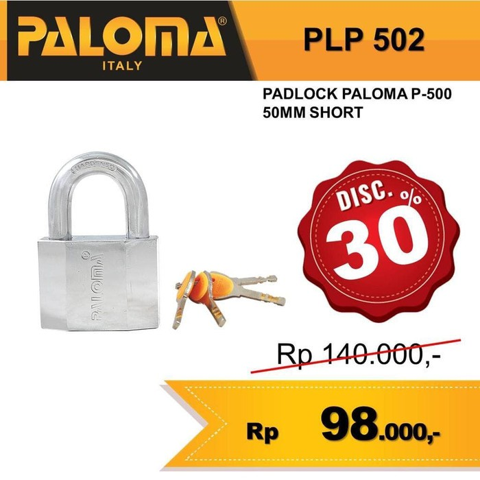 Jual Gembok Kunci Padlock Paloma P 500 50mm Short Plp 502 Berkualitas Shopee Indonesia