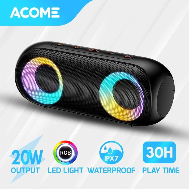 Acome A20 Super Bass Speaker Bluetooth 5.0 20W IPX7 Waterproof RGB