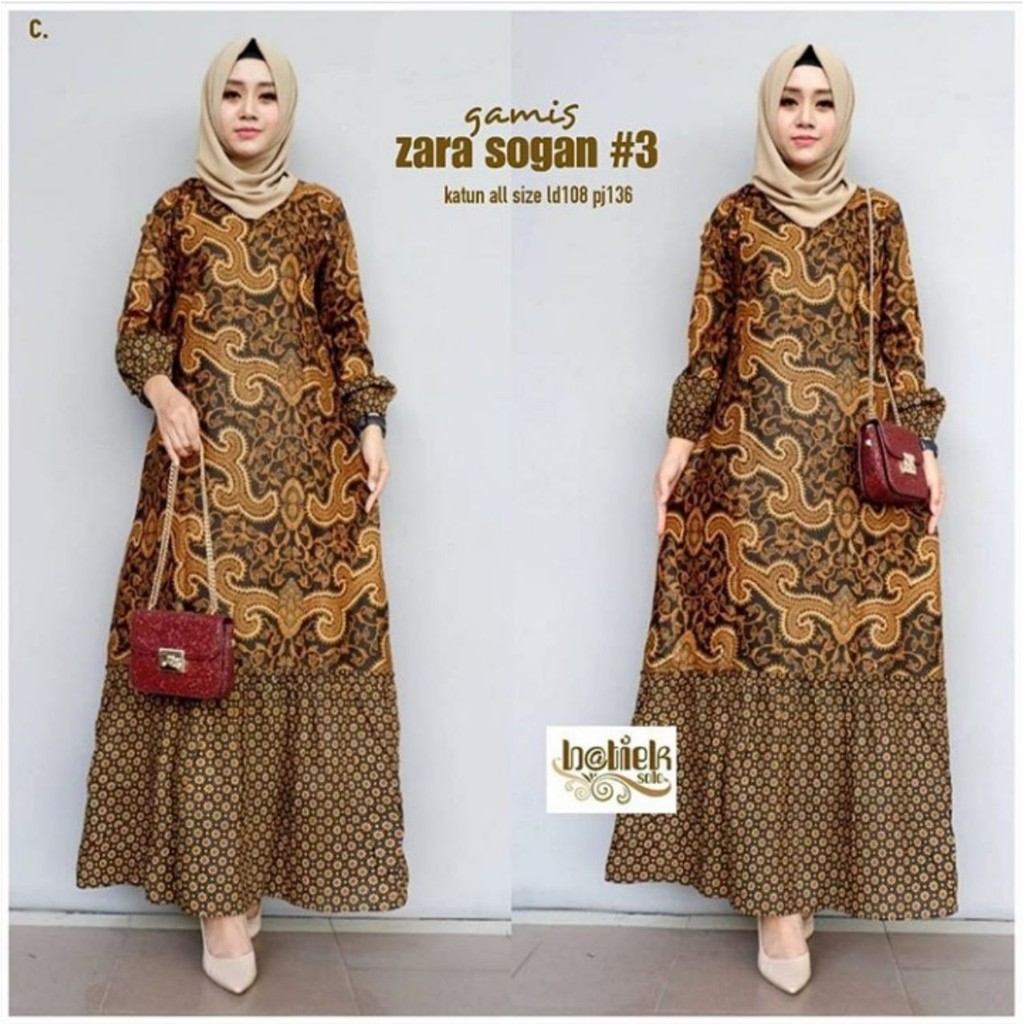 COD - Gamis Batik Terbaru 9 Wanita Busui Baju Batik Seragam Busana  Muslim Modern