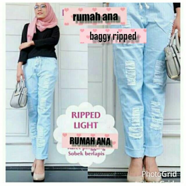 Celana 7/9 Jeans Wanita Fashion Sport Light Blue Ripped Sobek List Garis Samping Stripe Skinny Murah | Shopee Indonesia