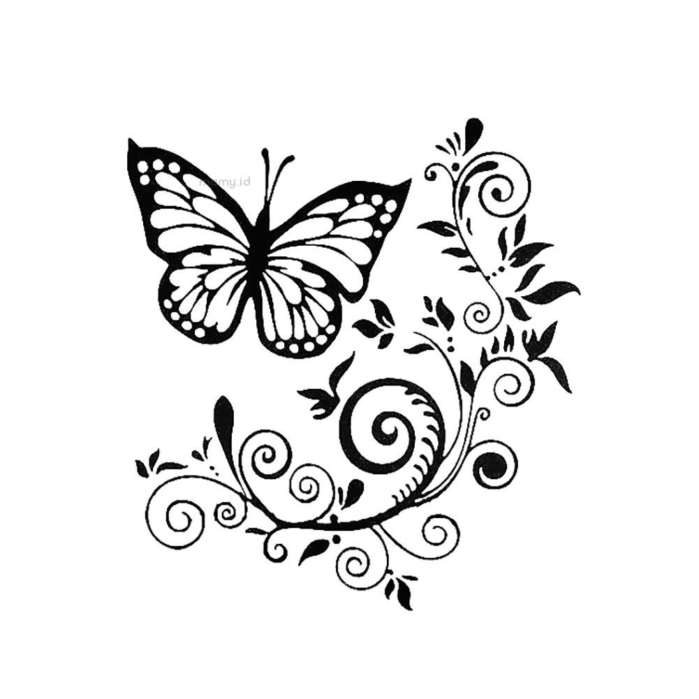 Linmy Stiker Bunga Kupu Kupu Untuk Dekorasi Body Kap Belakang