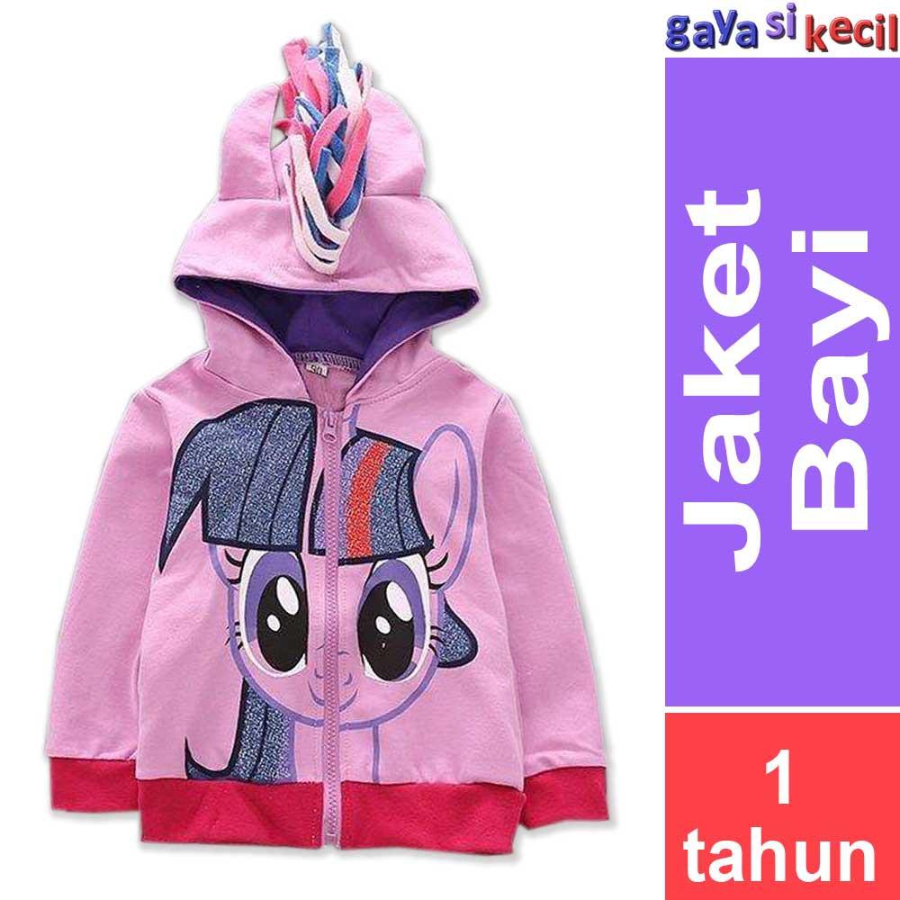Jaket Casual Anak Perempuan 6-10 Tahun Hoodies Sweater Cewek Fleece Hitam  Belang Putih  81cda01830
