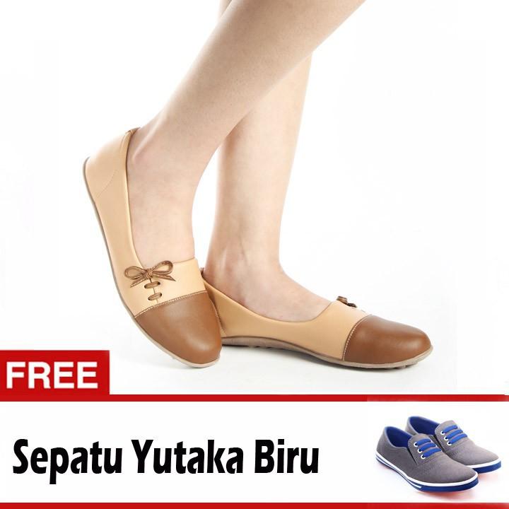 Yutaka Sepatu Wanita N33 Coklat Gratis Yutaka Sepatu Kets Sneakers Hitam / Merah | Shopee Indonesia