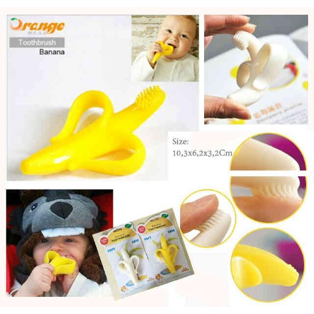 Sikat Gigi Bayi Banana Pisang Teether   Mainan Gigitan Bayi   Toothbrush  1bc5a24e94