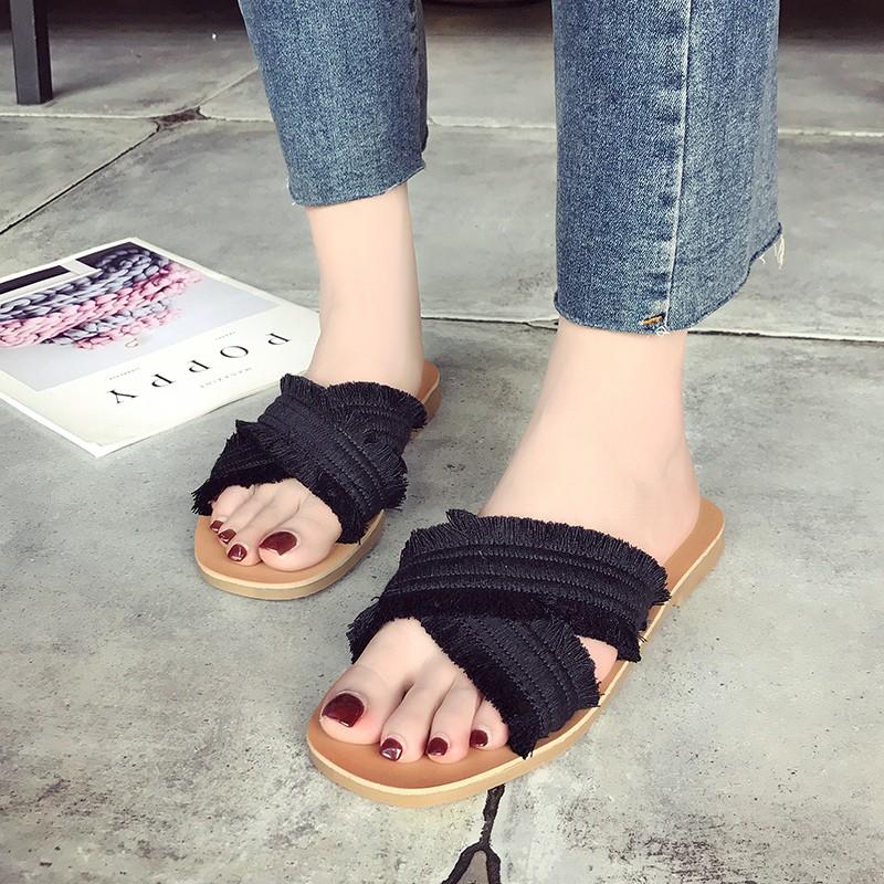 Sandal Slippers Wanita Flat Strap Kain Kepang Silang Motif Etnik Gaya Bohemian Musim Panas | Shopee