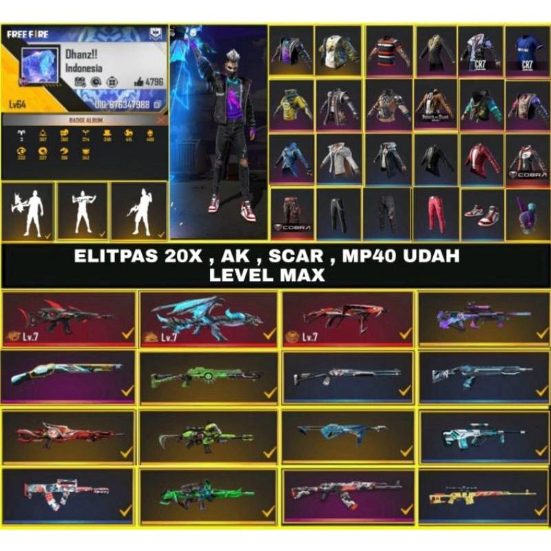 Akun ff sultan MURAH AK + SCAR + MP40 UDAH LEVEL MAX