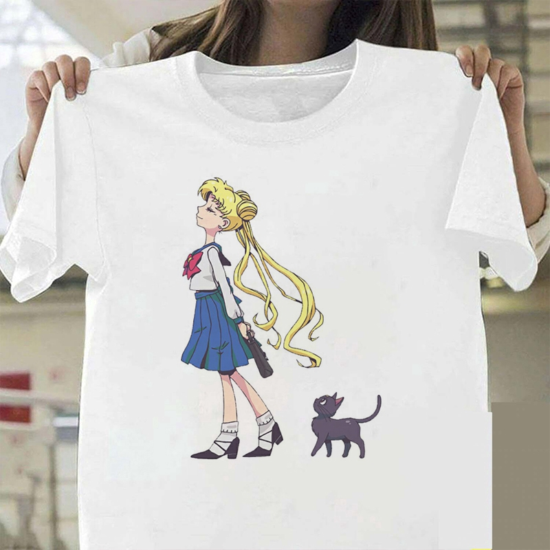 Kaos T Shirt Casual Wanita Dengan Gambar Kartun Sailor Moon Dan